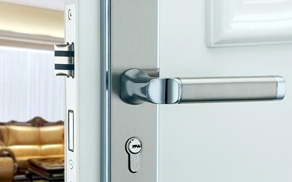 Silver lever door handle for composite door
