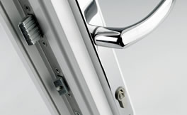 uPVC handle for door with multipoint lock and keep